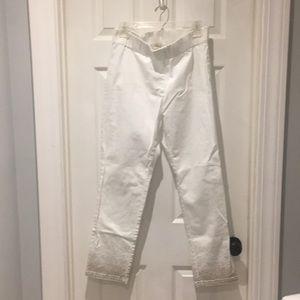 Soft Surroundings white petite pants gold splatter